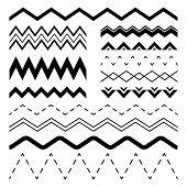 Wavy Zigzag. Wiggle Jagged Waves, Parallel Sinus Line Wave Border And Sine Zigzags Frame Vector Seam poster