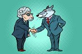 Wolf And Sheep Business Negotiations, Friendship. Comic Cartoon Pop Art Vector Retro Vintage Drawing poster