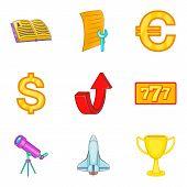 Economy Coaching Icon Set. Cartoon Set Of 9 Economy Coaching Icons For Web Design Isolated On White  poster