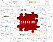 Puzzle-Stücke mit Geschäftsbedingungen auf sie geschrieben