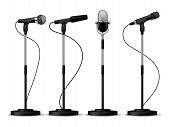 Microphones Standing. Speaking Stage Microphone Stand Speech Sing Studio Mic Counter Concert Audio E poster