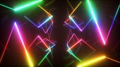 Abstract Flying In Futuristic Corridor Background, Fluorescent Ultraviolet Light, Mirror Lines Laser poster