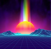Synth Wave Retro City Landscape Background Sunset 3d Landscape With Rainbow Light. Futuristic Landsc poster
