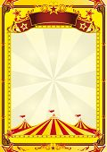 Big Top circus leaflet. A yellow background with big top for a poster.