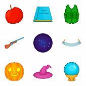 Evil Spirit Icons Set. Cartoon Set Of 9 Evil Spirit Icons For Web Isolated On White Background poster