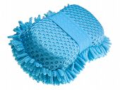 image of car wash  - A blue sponge for washing a car isolated on white - JPG