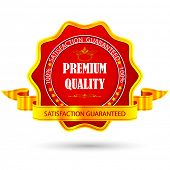image of 100 percent  - illustration of badge for premium quality with ribbon - JPG