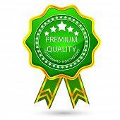 illustration of glossy badge for premium quality