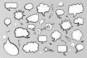 Collection Comic Speech Bubbles On Transparent Background. Speech Bubbles Icons. Comic Speech Bubble poster