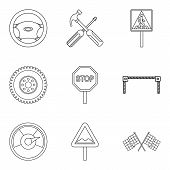 Dangerous Driving Icons Set. Outline Set Of 9 Dangerous Driving Icons For Web Isolated On White Back poster