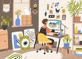 Female Graphic Designer, Illustrator Or Freelance Worker Sitting At Desk And Work On Computer At Hom poster