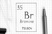 The Periodic Table Of Elements. Handwriting Chemical Element Bromine Br With Black Pen, Test Tube An poster