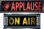 stock photo of applause  - Big bright ON AIR and APPLAUSE signs for your theater broadcasting studio website banner ad and music needs - JPG