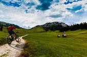 Single mountain bike rider on electric bike, e-mountainbike rides mountain trail. Man cycling on bik poster