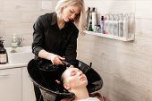 Beautiful Girl Washes Her Hair Before A Haircut In A Beauty Salon. Hair Washing At A Hairdressing. P poster