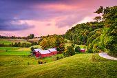 Reading, Vermont, USA rural farm scene at dusk.  poster