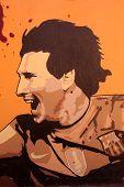 Graffiti In Honor Lionel Messi In Barcelona