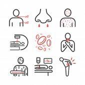 Leukemia Symptoms. Symptoms, Treatment. Line Icons. Vector Signs. poster