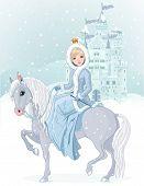 Winter design of Beautiful princess riding horse