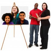 Beautiful Interracial Family Portrait with mom and dad painting children's portrait at easel over wh