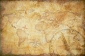 picture of treasure map  - aged treasure map with compass background - JPG