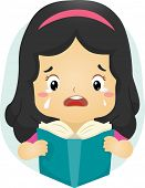 Illustration of a Tearful Girl Reading a Book