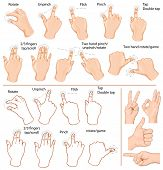 Vector set of commonly used multitouch gestures for tablets or smartphone and hand with business signs.