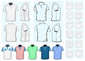 Vector. Men's polo-shirt design template (front, back and side view). No mesh. Different variants: outlines, detailed  and color. Collections of pockets.
