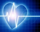 foto of blue-screen-of-death  - Heart beat on clinic monitor on a blue background - JPG