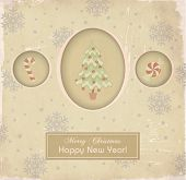 Vintage Christmas and New Year Greeting Card - Faded holiday greeting card, with traditional Christm
