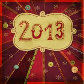 2013: Happy New Year - New Year's greeting card, with doodle numbers and label, hand drawn and sewn