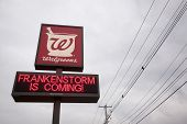 NEWTON, NJ - OCT 27: A message on a Walgreens sign that reads 'Frankenstorm Is Coming' before Hurric