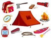 illustration of various objects of camping on a white background