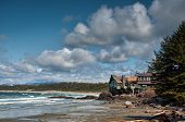stock photo of pacific rim  - Building with beautiful view along coast of wavy sea - JPG