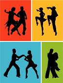 stock photo of jive  - Abstract vector illustration of latin american dancers - JPG
