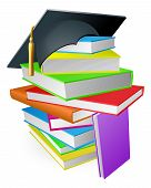 stock photo of convocation  - Education concept a pile of books with a mortar board graduation hat on top - JPG