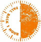 picture of daylight saving time  - Fall back daylight savings time rubber stamp - JPG