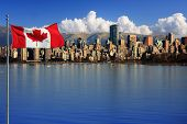 stock photo of bay leaf  - Canadian flag in front of the beautiful city of Vancouver - JPG