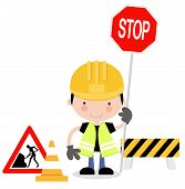 Roadworks Guy Holding Stop Sign