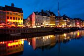 Old Buildings In Nyhavn At Night