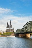 View On Cologne Cathedral In A Cloudy Day