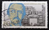 GERMANY - CIRCA 1990: A stamp printed in Germany shows Heinrich Schliemann circa 1990