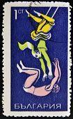 Bulgarien ca. 1969: Briefmarke gedruckt in Bulgarien zeigt Trapez-Künstler ca. 1969