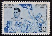 CUBA - CIRCA 1967: A stamp printed in cuba dedicated to Cienfuegos uprising shows Dionisio San Roman
