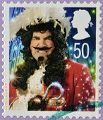UNITED KINGDOM - CIRCA 2008: A Christmas stamp printed in Great Britain shows Captain Hook from Pete