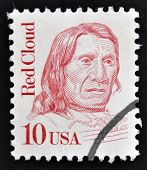 A stamp printed in USA shows portrait of Red Cloud chief of the Oglala Lakota