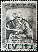 A stamp printed in Vatican shows prophet Joel painted in the Sistine Chapel by Michelangelo