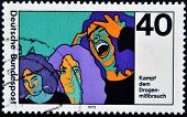 GERMANY - CIRCA 1975: A stamp printed in Germany dedicated to the fight against drugs in young circa