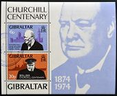 GIBRALTAR - CIRCA 1974 : Stamp printed in Gibraltar shows Winston Churchill 1874-1974 circa 1974