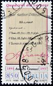 ITALY - CIRCA 1997: A stamp printed in Italy shows the prison notebooks of Antonio Gramsci circa 199